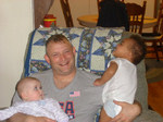 with his neice Emma and his 20 month old son Daniel