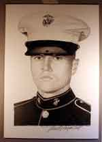 The portrait that Mike Reagan drew of LCpl Veater, Dennis J.